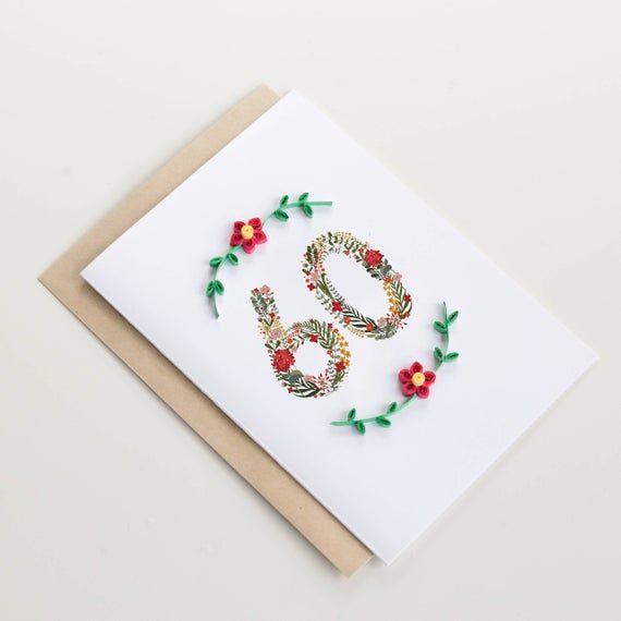 Happy 60th Birthday Card Floral Milestone Greeting Card Custom Postcard For Grandparents Grandma Nana Mom Aunt Elder Sister Friend 60th Birthday Cards 70th Birthday Card Cool Birthday Cards