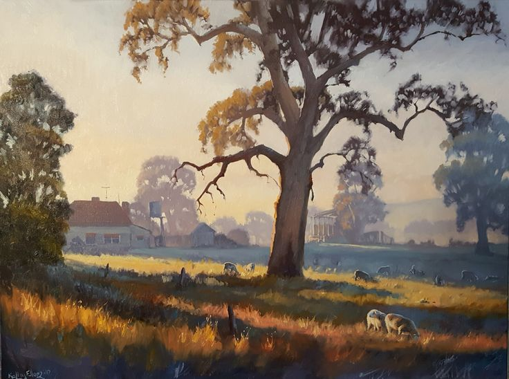 'First rays'. Oil painting.  Australian landscape painting.  Original artwork by Kathy Ellem.