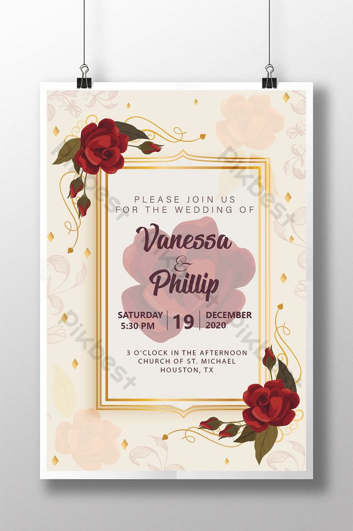 Vintage Style Wedding Invitation Card With Beautiful Roses Pikbest