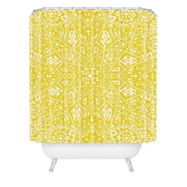 Deny Designs Amirah Yellow Curtain Aimee St Hill Shower Curtaain 69 x 72 Home Decor Shower Curtain Shower Curtains