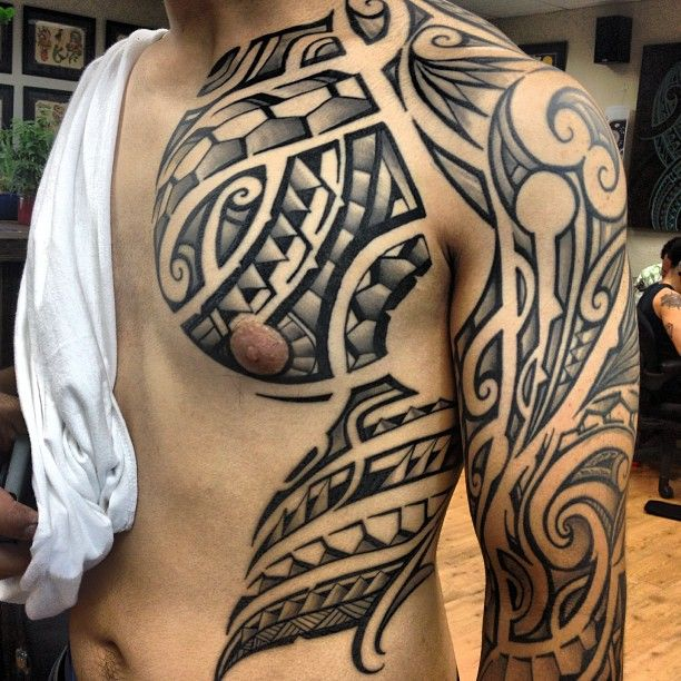 SUPER CLEAN!! - Polynesian tribal chest piece and sleeve By Sef Samatua - Humble Beginnings Tattoo, San Jose, CA.