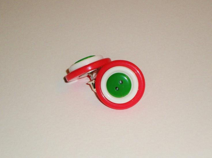 Christmas Button, Studded Earrings. $5.75, via Etsy.
