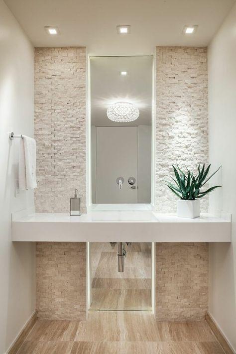 Salle de bain #moderne en #blanc et #beige ! http://www.m-habitat.fr/par-pieces/sanitaires/comment-optimiser-l-espace-dans-une-petite-salle-de-bain-2691_A