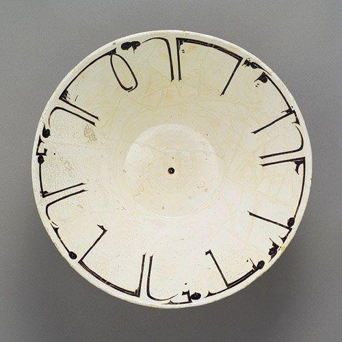 Bowl, 10th century  Samarqand (Uzbekistan) or Nishapur (Iran)  Earthenware, red body, white engobe, underglaze-painted