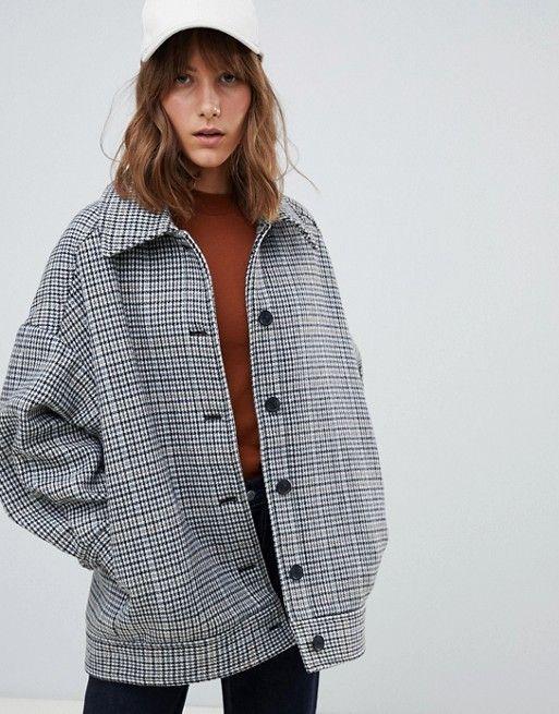 92314422d7ed Weekday oversized wool trucker jacket in multi Jesenné Oblečenie