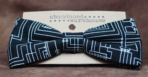 Circuit board black bow bow tie / hair bow by AbandonedWarehouse