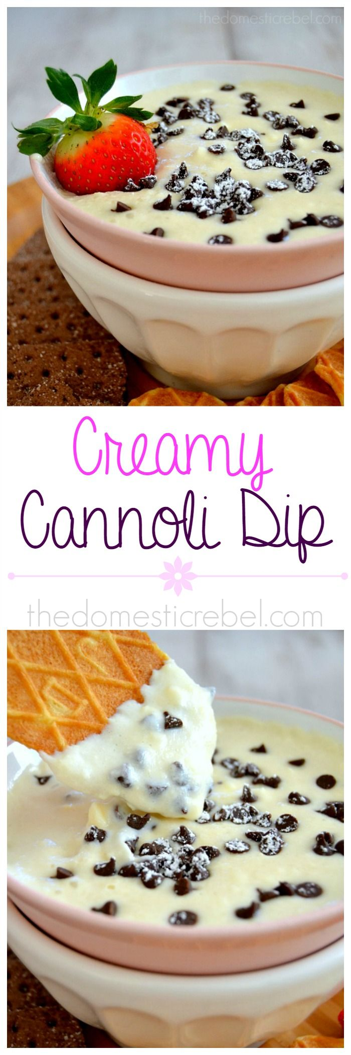 Creamy Cannoli Dip! Smooth, silky, creamy and rich, this dip tastes like cannoli cream in a convenient, dippable dessert! #cannoli #dessert