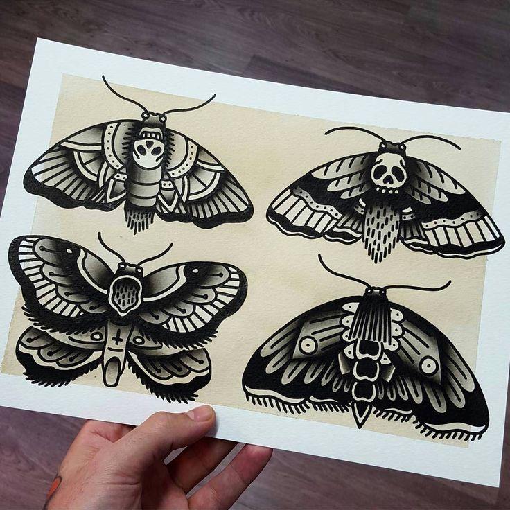"""""""Flash by: --- @rubenwayne, traditional tattoo flash, moth, death"""