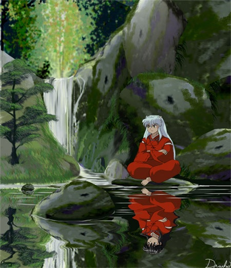 I found this picture cool. Inuyashas reflection as a human.