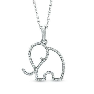 Zales 1/10 CT. T.w. Diamond Play Time Necklace in 10K White Gold Za0kw