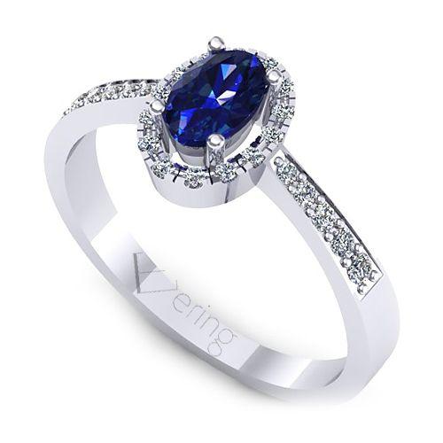 Inel logodna L135ASF cu diamante si safir