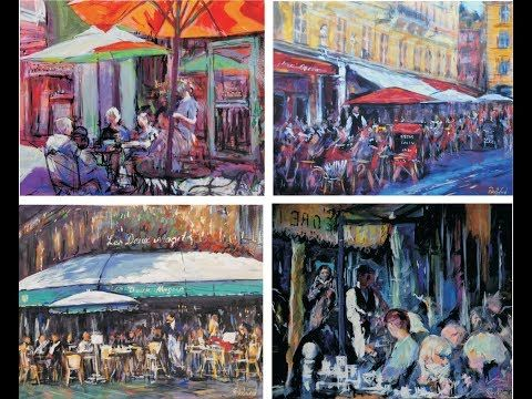 (465) How to paint 4 small French Cafe scenes using acrylics, fast & loose. - YouTube