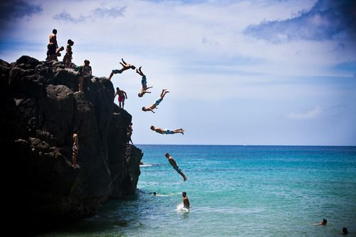 I jumped off this rock in Hawaii!Cliff Jumping, Buckets Lists, Life, Timelap Photography, Bays, Flip Flops, Beach Photography, Start Post, Rocks