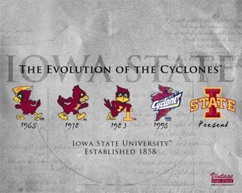 Iowa State University EVOLUTION OF THE CYCLONES Team Logo History Poster Print -Available at www.sportsposterwarehouse.com
