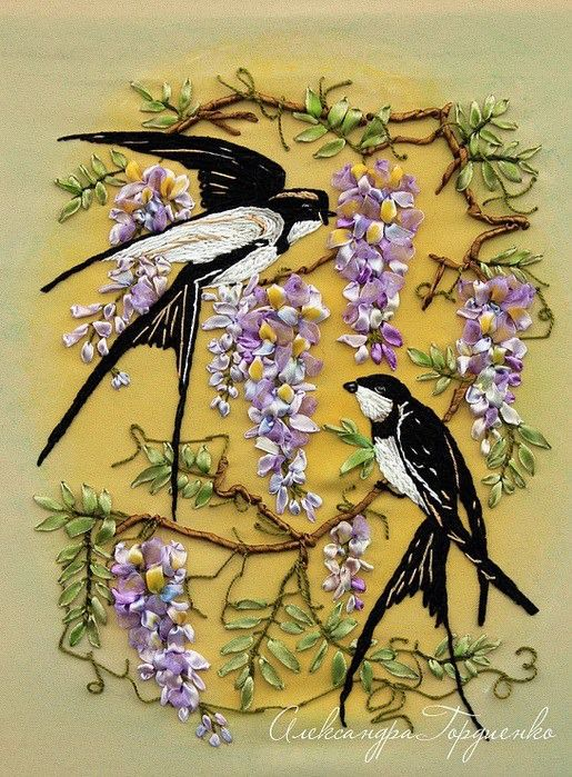 Swallows in wisteria.