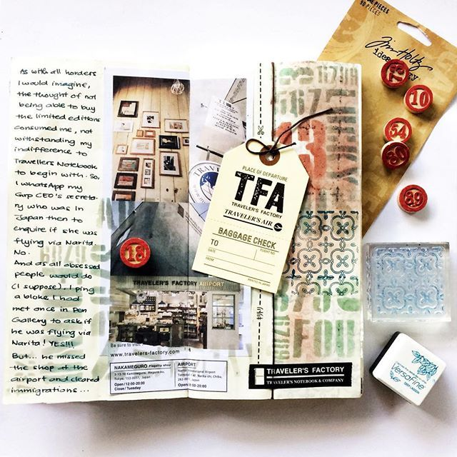 Am totally loving this background ... decided to just go with my own style - mixed media grunge ALL PRODUCTS FROM @scrapncrop #traveldiary #travelogue #tfa #travelersfactory #traveljournal #mytraveldiary #mytraveljournal #travellersnotebook #travelersnotebook #mtn #midori #mixedmedia #distressedink #stamping #stencils #mystory #mytravels #thedailywriting #文具 #手帳 #文具控 #手帳ゆる友