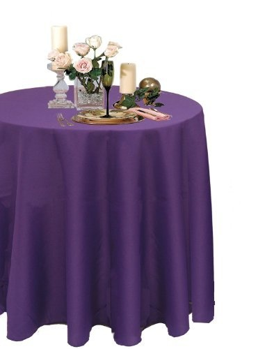 A 1 Tablecloth Company Round 90 Inch Poly Table Cloth, Purple (Case