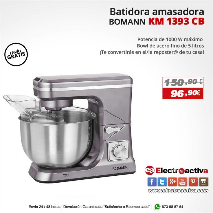 ¡Te convertirás en el/la reposter@ de tu casa!  Batidora Amasadora BOMANN KM 1393 CB http://www.electroactiva.com/bomann-km-1393-cb-batidora-amasadora-capacidad-de-5-litros-8-velocidades-1000-w-color-titanio.html #Elmejorprecio #Batidora #Amasadora #Chollo #Electrodomestico #PymesUnidas