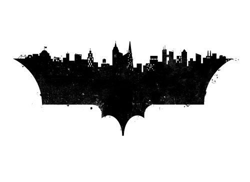 batman symbol with gotham city scape.