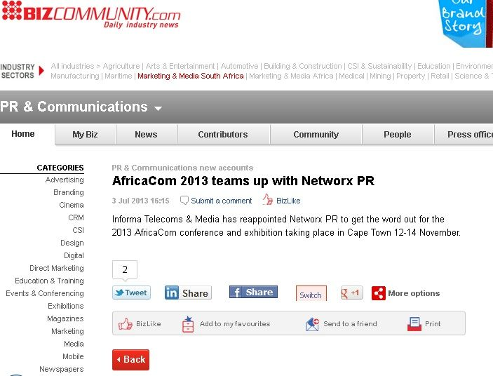 #AfricaCom 2013 teams up with #NetworxPR