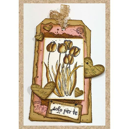 "Tulips from ""Fatina e Fiori"" plate stamps, colored with Distress ink - by Monica Di Menza"