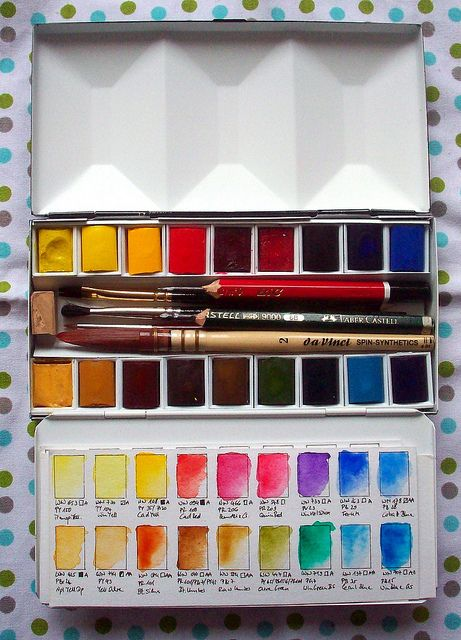 winsor newton 16 half pans heavyweight enamelled watercolour box filled by Julie Paradise1, via Flickr