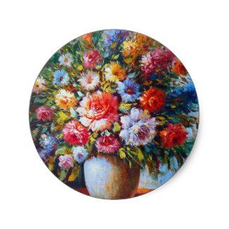 Vintage Floral Bright Country Flowers Painting Classic Round Sticker