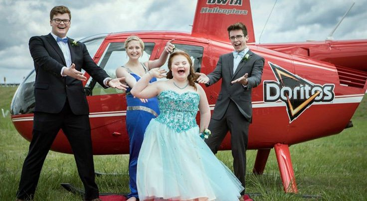 """NEWTON, Kan. -- FourKansas teens rode to prom in style after a popular chip company heardabout how one of the boys creatively used their product to ask a friend to prom.  In March Shaedon Wedel asked his best friend's little sister, who has down syndrome to prom. During the promposal he was wearing a Doritos T-shirt that said, """"I know I'm NACHO typical Dorito but…I'm going to be cheesy and ask: will you go to prom with me?"""""""