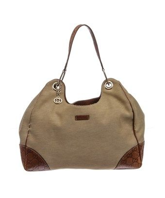 4fc972b5841 GUCCI PRE OWNED - GUCCI BROWN BEIGE CANVAS LEATHER HOBO SHOULDER BAG.  gucci   bags  shoulder bags  leather  canvas  hobo
