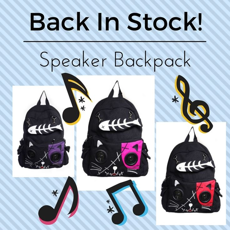 Back In Stock! Skeleton Cat Speaker Backpacks! Yes! Functional Plug & Play speakers on Backpack! Compatible with any iPod, iPhone, Laptop, Mp3 Player, Phone, Radio. #skelapparel #skeletoncat #gothic #punkrock