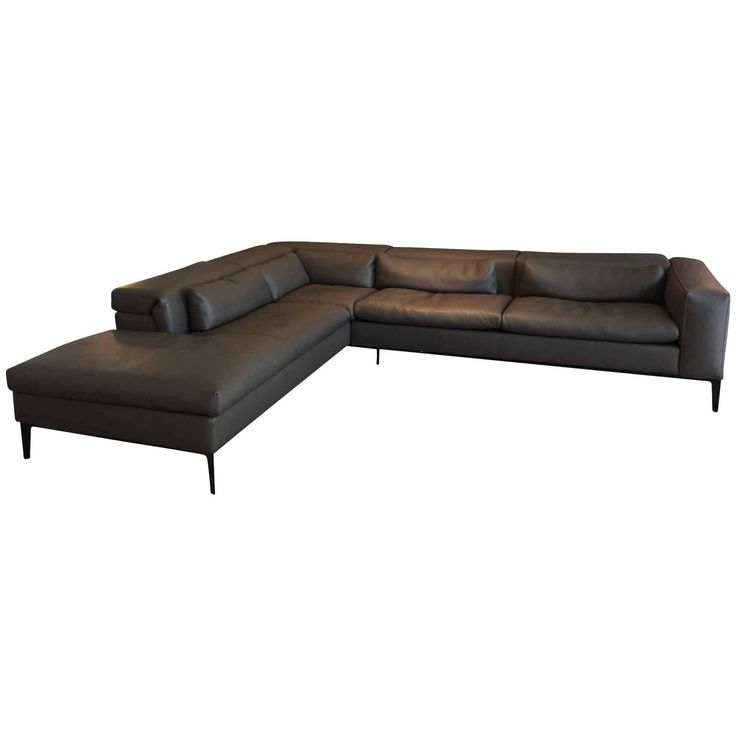 Brown Leather Corner Sofa Rigoletto By Italian Manufacture Cierre