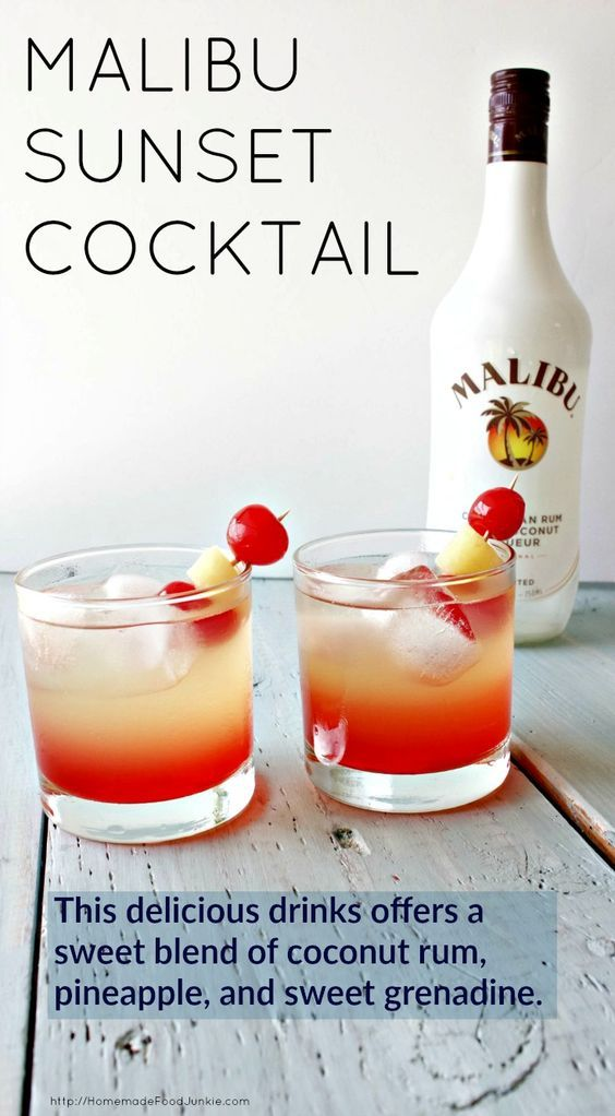 Malibu Sunset Cocktail This delicious drink recipe offers a sweet blend of coconut rum, pineapple juice, and sweet grenadine syrup. Pop a cherry and Pineapple garnish in for your new favorite beach drink! HomemadeFoodJunki...