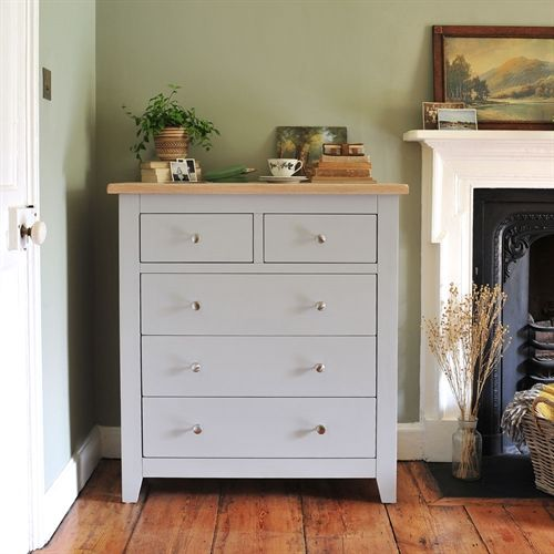 Chester Grey 2+3 Chest from The Cotswold Company  Painted Chest, Bedroom Storage, Grey Chest of Drawers, Olive Green Walls, Dried Flowers, House Plants, Interiors, Country Home, Country Dining, Bedroom Chest, Clothes Storage,