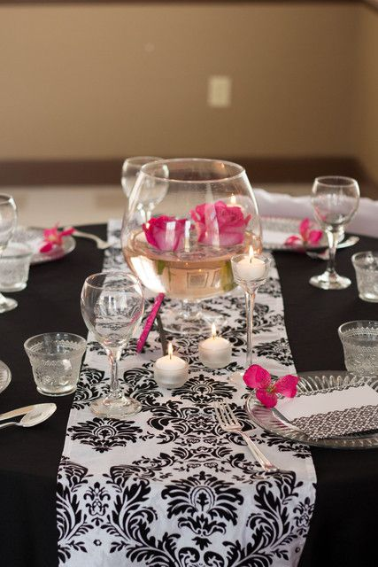 Fuchsia and Damask Wedding Party table!  See more party ideas at CatchMyParty.com!