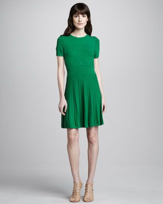 Short-Sleeve Sweater Dress, Green by Shoshanna at Neiman Marcus.