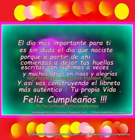 Tarjetas de Cumpleaños : 273.Postales de cumpleaños : el autentico libreto , tu propia vida , feliz cumpleaños !!!
