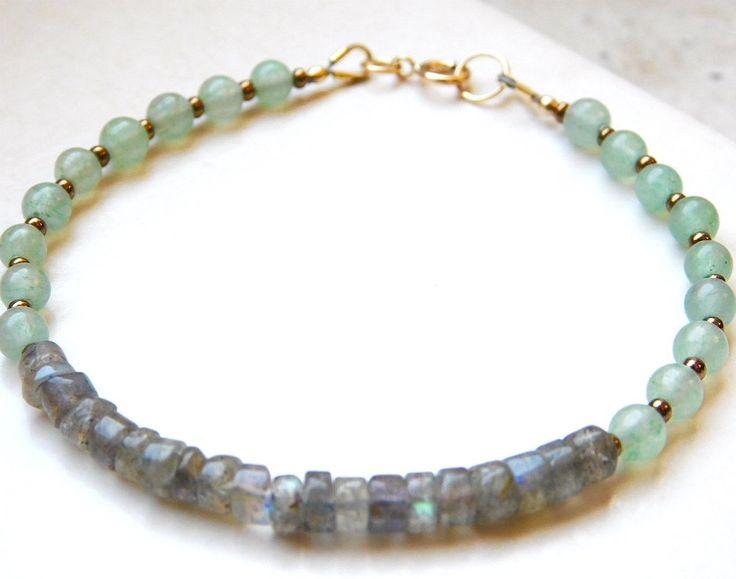 Gemstone bracelet, beaded bracelet Labradorite, Aventurine gemstones by jljewellerydesign on Etsy