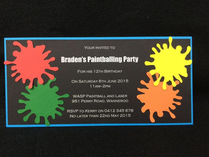 Invitation - Kids Birthday - Paint Ball Party - Braden