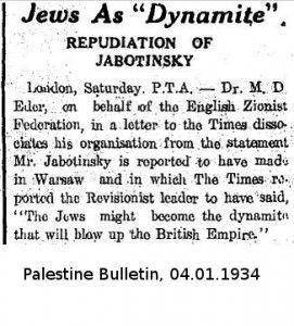Zitat Jabotinsky 1934 : Juden Dynamit für Britisches Empire Quote Jabotinsky 1934 : Jews as dynamite for the British Empire