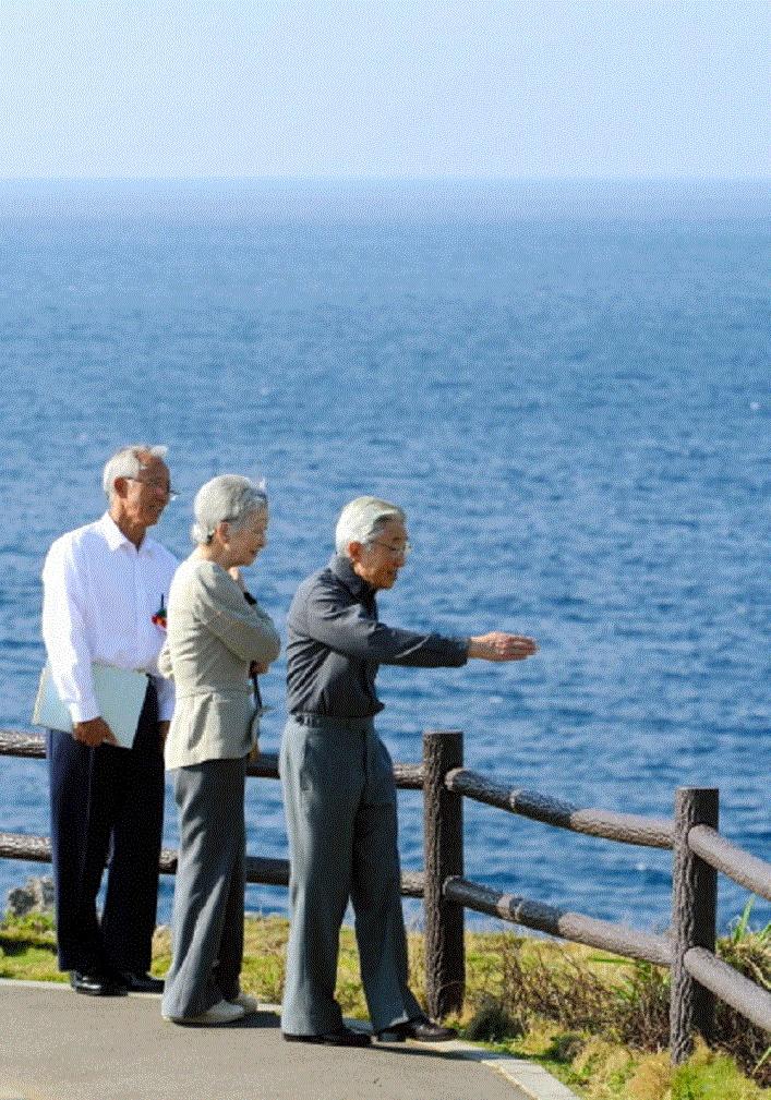 Japanese Emperor Akihito and Empress Michiko visit Manza Mou on 19 Nov 2012 in Onna