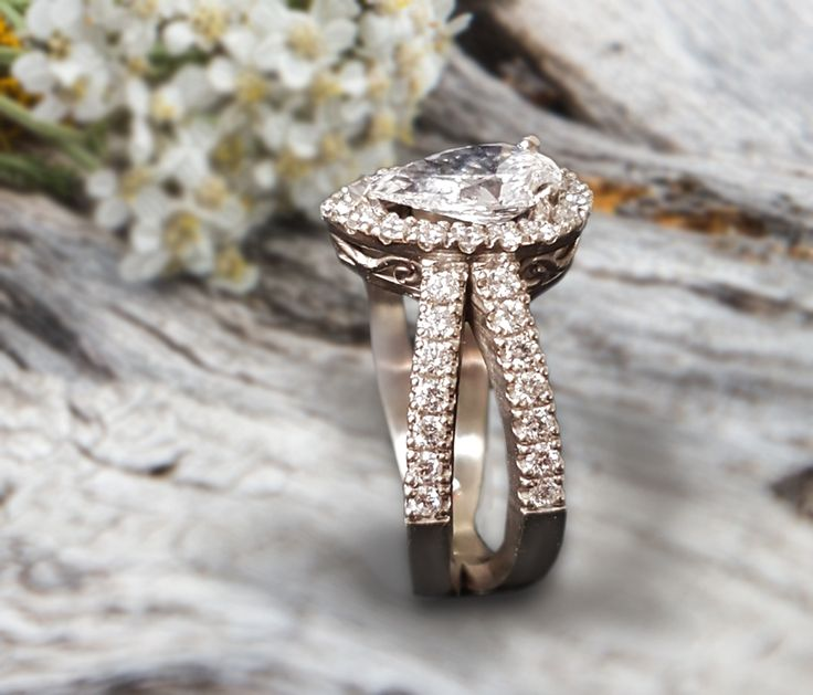 Linara Pear Shaped Diamond Halo Split Pave Shank Engagement Ring in Platinum