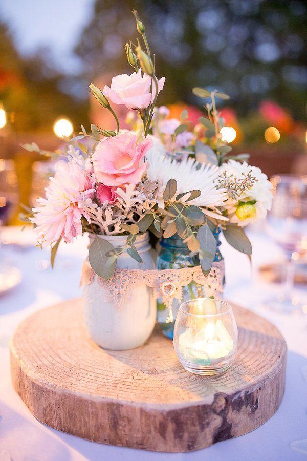 rustic pink wedding centerpiece-shabby chic wedding idea