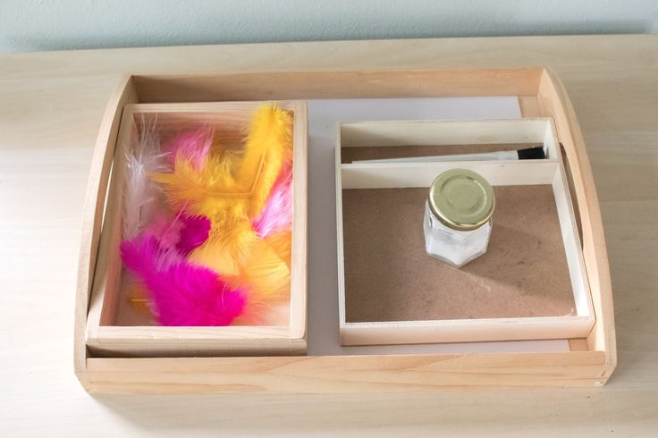 4 Montessori art trays at 2-years-old. Simple ideas to explore art with toddlers.