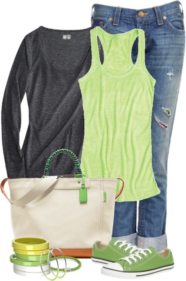 """Lime Green Converse"" by tammylo-12 on Polyvore"