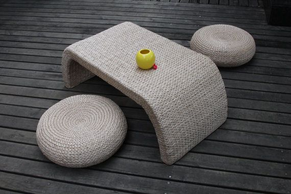 CoffeeTable Set/Rustic straw coffee table set/ by GrasShanghai