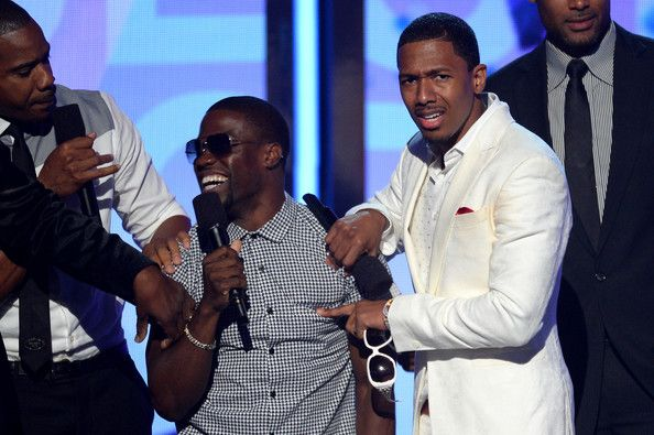 Kevin Hart Nick Cannon Photos - (L-R) Actors Duane Martin, Kevin Hart, Nick Cannon, and Boris Kodjoe speak onstage during the 2013 BET Awards at Nokia Theatre L.A. Live on June 30, 2013 in Los Angeles, California. - Inside the BET Awards