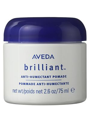 Aveda Brilliant Finishing Pomade- the ANTI-HUMECTANT formula as pictured. A hairdresser used it on me at age 14 and I'm  STILL hooked. Why? I've still YET to find a product that works as well, 13 years later. It repels humidity like a champ. It keeps hair straight and I don't know how I'd survive without it.