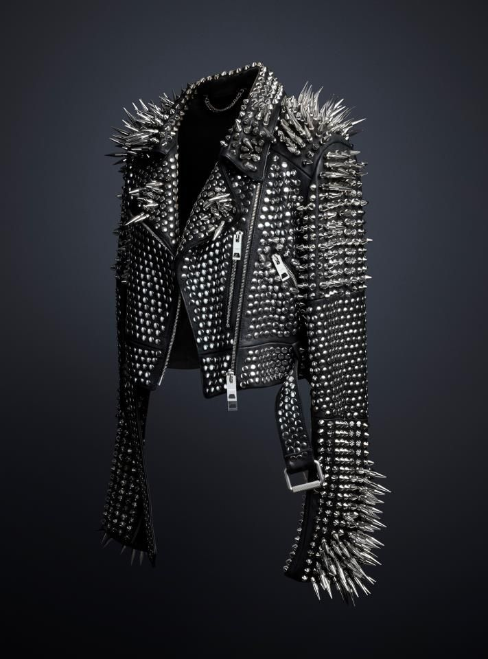 The studded leather jacket designed exclusively by Chief Creative Officer Christopher Bailey, available to view at the Met Museum's 'Punk: Chaos to Couture' exhibition.