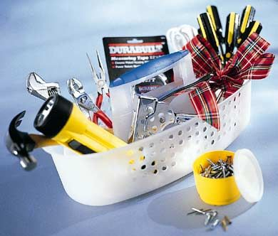 Great Gift Basket Ideas - the tool one is great for someone going to college or moving out on their own