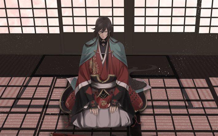 Download wallpapers Touken Ranbu, Izuminokami Kanesada, Japanese anime, samurai